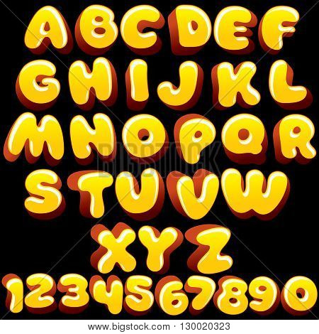 Cute Cartoon Yellow Font. Vector Letters Ready for Your Text and Design.