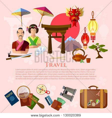 Travel to Japan japanese traditions and culture vacation in Japan vector illustration