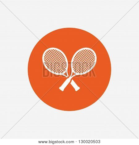 Tennis rackets sign icon. Sport symbol. Orange circle button with icon. Vector