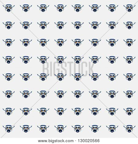 Vector seamless pattern with cartoon lemur heads
