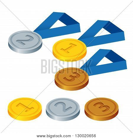 First place, second place and third place. Set of gold, silver and bronze symbols. Flat 3d vector isometric illustration