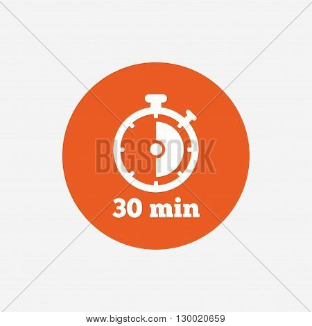 Timer sign icon. 30 minutes stopwatch symbol. Orange circle button with icon. Vector