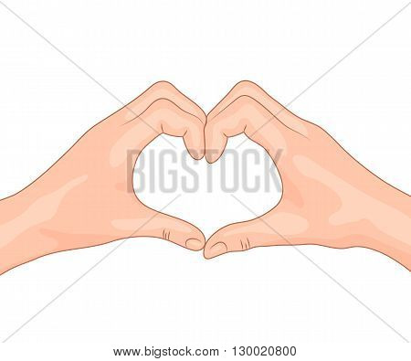 Hands making a heart shape. Concept design of the symbol of love. Isolated vector illustration.