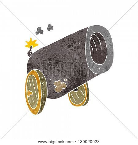 freehand retro cartoon big cannon