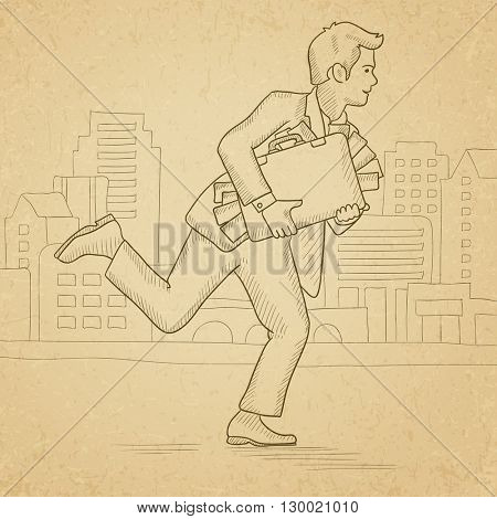 Man running with suitcase full of money.