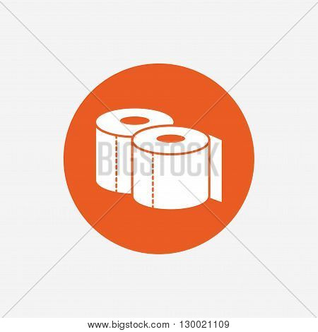 Toilet papers sign icon. WC roll symbol. Orange circle button with icon. Vector
