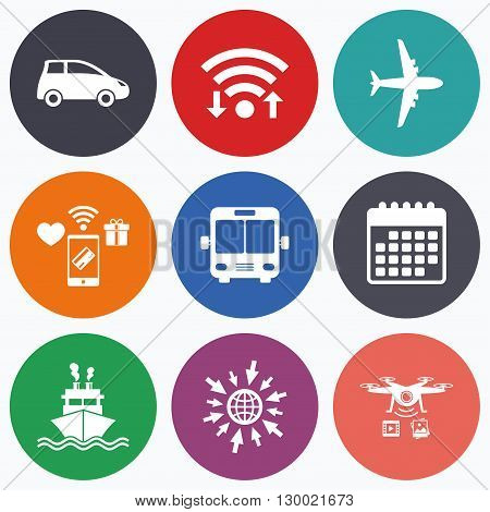 Wifi, mobile payments and drones icons. Transport icons. Car, Airplane, Public bus and Ship signs. Shipping delivery symbol. Air mail delivery sign. Calendar symbol.