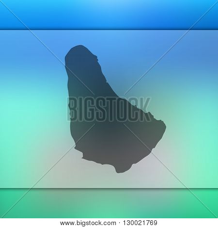 Blurred background with silhouette of Barbados.