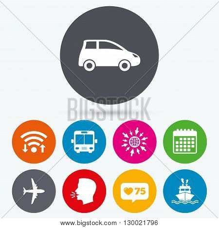 Wifi, like counter and calendar icons. Transport icons. Car, Airplane, Public bus and Ship signs. Shipping delivery symbol. Air mail delivery sign. Human talk, go to web.