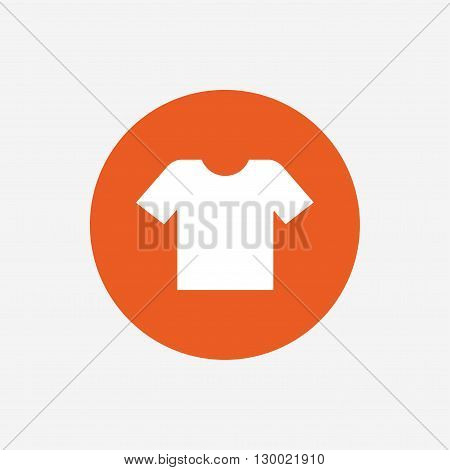 T-shirt sign icon. Clothes symbol. Orange circle button with icon. Vector