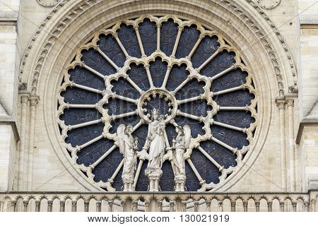 Paris, France - May 13: The rose-window of Notre-Dame de Paris is an important architectural detail of the appearance of the cathedral May 13, 2013 in Paris, France.