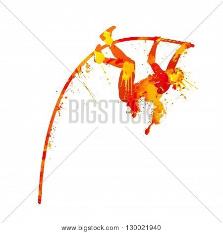 pole vault. Vector orange watercolor splash paint