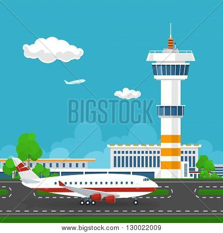 Airport Terminal, the Plane on the Runway at the Airport ,  Airport  with Control Tower and Airplane , Tourism Concept , Vector Illustration