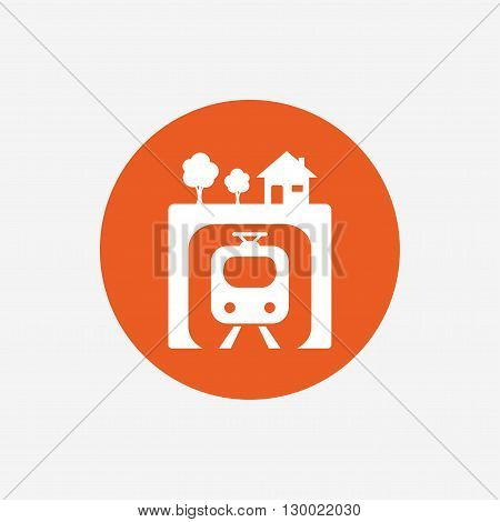 Underground sign icon. Metro train symbol. Orange circle button with icon. Vector