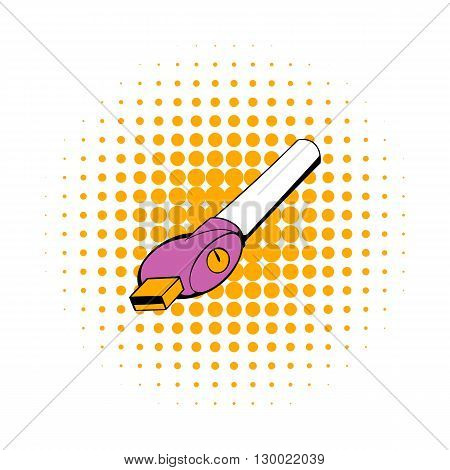 Electronic cigarette charger icon in comics style isolated on white background