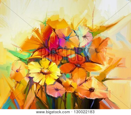 Abstract oil painting of spring flower. Still life of yellow pink and red gerbera daisy daffodil. Colorful bouquet flowers with light yellow background. Hand Painted floral Impressionist style