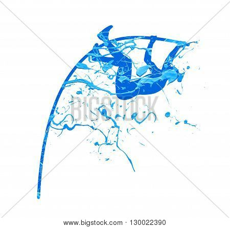 pole vault. Vector blue splash paint illustration