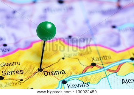 Drama pinned on a map of Greece