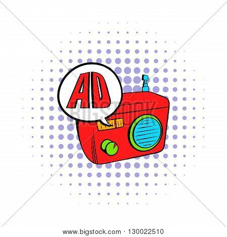 Radio advertising icon in comics style on a white background