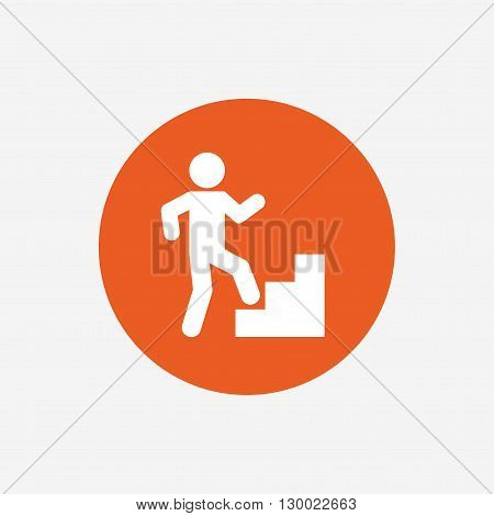 Upstairs icon. Human walking on ladder sign. Orange circle button with icon. Vector