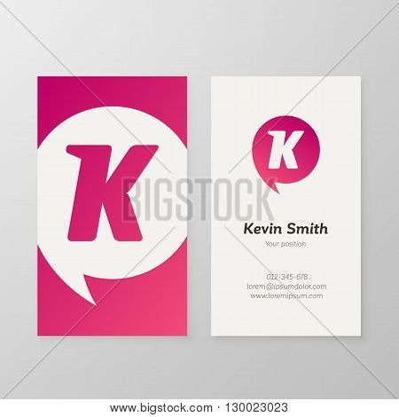 Modern letter K in speech bubble Business card template. Vector business personal card design. Layered editable.