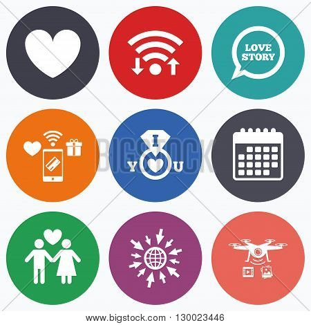 Wifi, mobile payments and drones icons. Valentine day love icons. I love you ring symbol. Couple lovers sign. Love story speech bubble. Calendar symbol.