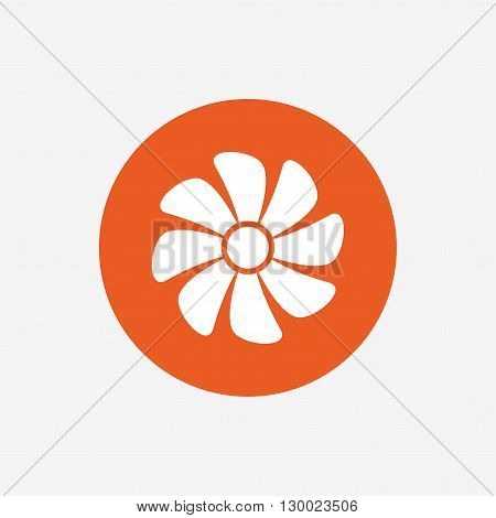 Ventilation sign icon. Ventilator symbol. Orange circle button with icon. Vector