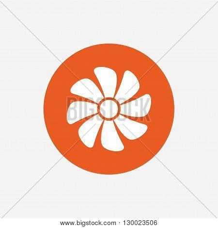 Ventilation sign icon. Ventilator symbol. Orange circle button with icon. Vector
