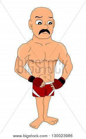 Illustration of mixed martial arts fighter with mustache gloves posing isolated on a white background