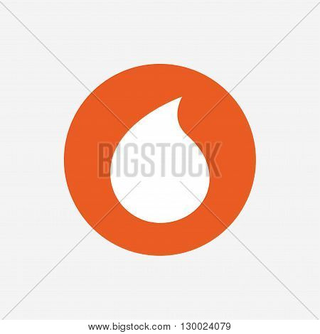 Water drop sign icon. Tear symbol. Orange circle button with icon. Vector