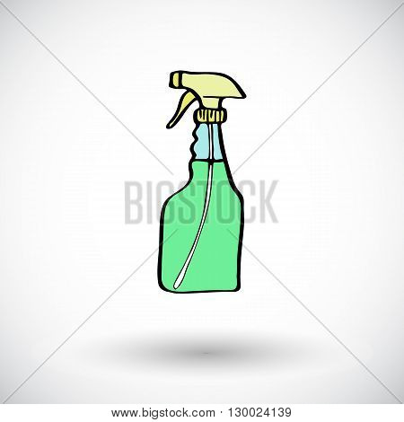 Cleaning spray sketch. Hand-drawn cartoon cleaning tool icon. Doodle drawing. Vector illustration.