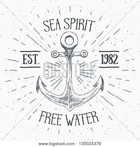 Hand Drawn Sketched Anchor, Textured Grunge Vintage Anchor Label, Retro Badge Or T-shirt Typography