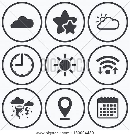 Clock, wifi and stars icons. Weather icons. Cloud and sun signs. Storm or thunderstorm with lightning symbol. Gale hurricane. Calendar symbol.