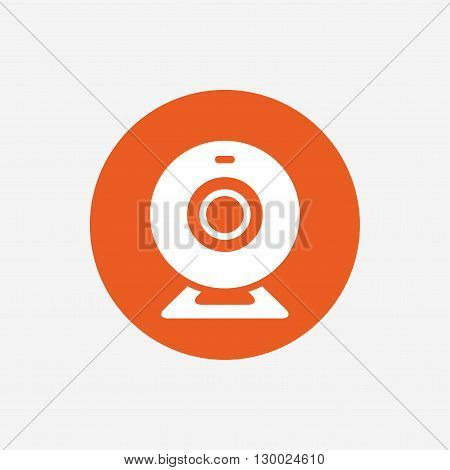 Webcam sign icon. Web video chat symbol. Camera chat. Orange circle button with icon. Vector