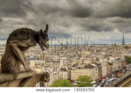 Paris, France - May 13: These are one of the statues of chimeras and a view of Paris from the heights of Notre-Dame de Paris May 13, 2013 Paris, France.