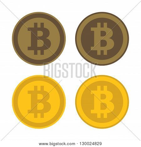 Bitcoin Icon Logo Set on White Background. Vector illustration