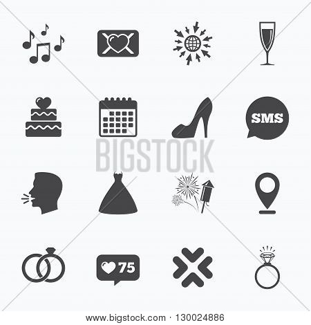 Calendar, go to web and like counter. Wedding, engagement icons. Cake with heart, gift box and vow love letter signs. Dress, fireworks and musical notes symbols. Sms speech bubble, talk symbols.