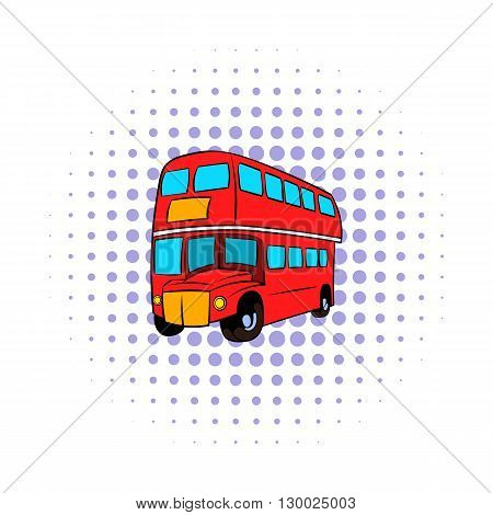 London double decker red bus icon in comics style on a white background