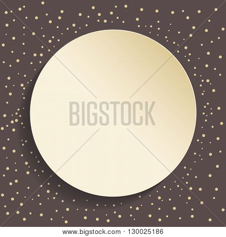 Nice vector frame with golden dots and volume circle. Fine greeting card