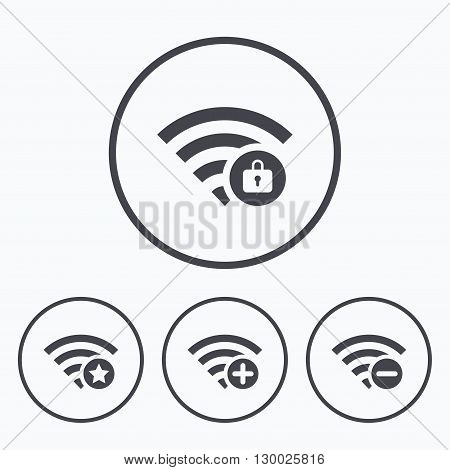 Wifi Wireless Network icons. Wi-fi zone add or remove symbols. Favorite star sign. Password protected Wi-fi. Icons in circles.