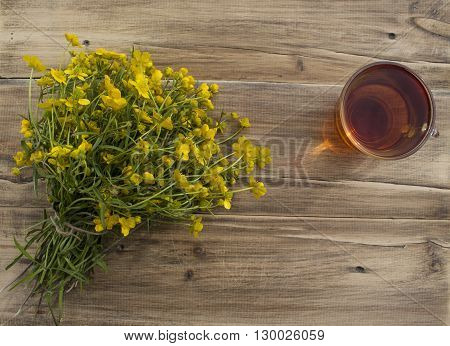 a Cup of tea and a bouquet of buttercups