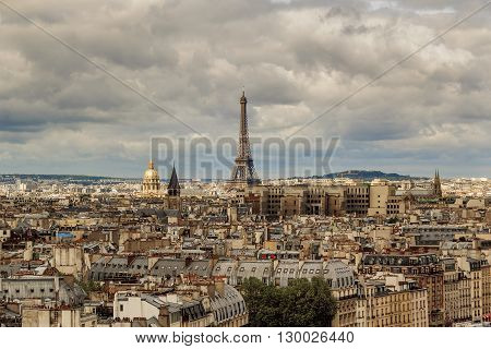 Paris, France - May 13: This is view of Paris from the heights of Notre-Dame de Paris May 13, 2013 in Paris, France.
