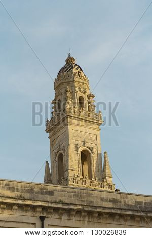 Lecce the peak of the bell tower. Baroque detail