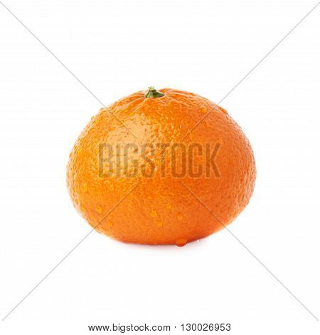 Fresh juicy tangerine ripe fruit covered with the multiple water drops, isolated over the white background