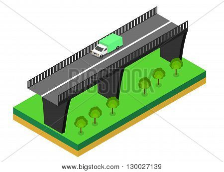 Isometric bridge. Commercial transport. Various types of load and cargo. Logistics. Flat 3d Vector isometric illustration.