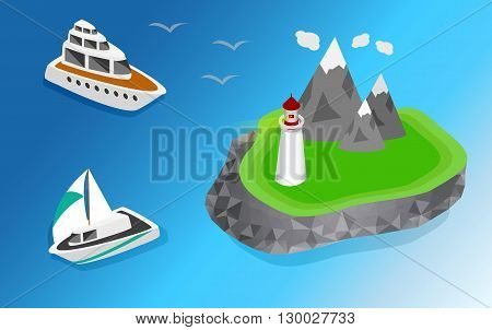 Maritime lighthouse on the island isometric style. The ship is sailing to the lighthouse vector isometric illustration  3d