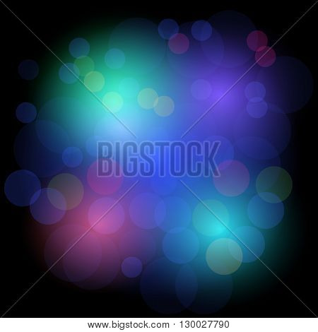 Bokeh lights festive background. Abstract background with circles. Design background in colored light spots. Vector disco background. Beautiful vector light effect