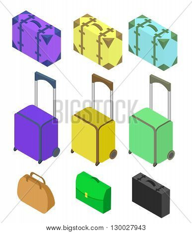 Travelers suitcases. The objects are isolated against the white background. Suitcase large polycarbonate suitcase. Flat 3d Vector isometric illustration.