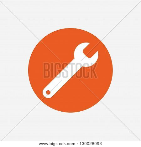 Wrench key sign icon. Service tool symbol. Orange circle button with icon. Vector