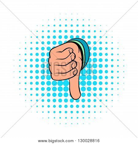Thumb down gesture icon in comics style on a white background